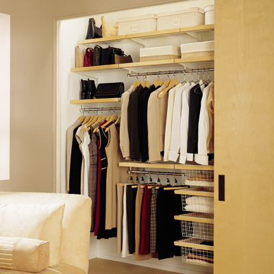 Birch White Elfa Decor Reach In Closet